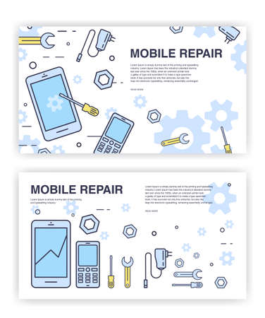 soldering: Mobile phone repair. Banners with smartphone and tools. service electronic technic.