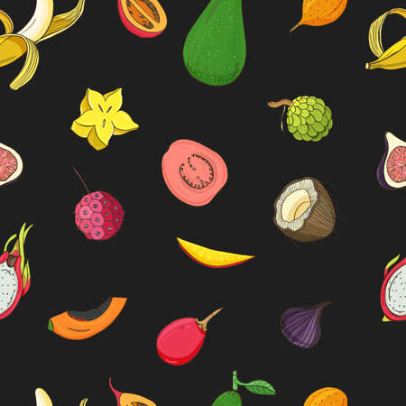 Seamless pattern with exotic tropical fruits. Black vector background. Illustration
