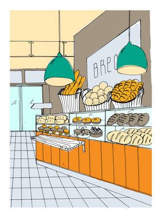 bread department hand drawn colorful illustration, store interior.