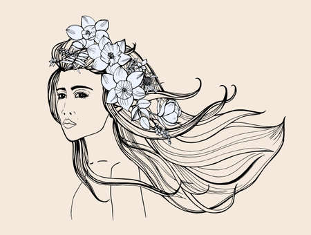 Fashion portrait. Beautiful girl with long flowing hair. Contour hand drawn illustration
