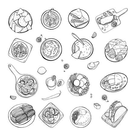 Set of mexican traditional food. Different dishes collection spicy bean soup chili, nachos, tortilla, fachitos, quesadilla, taco, guacamole. Hand drawn sketch, black and white vector illustration.
