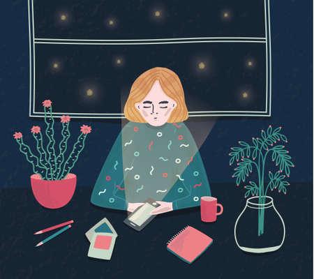Mädchen mit Telefon in der Nacht. Junge Frau, die am Tisch sitzt und auf Anruf wartet. Bunte vektorabbildung in der Karikaturart Standard-Bild - 77928517