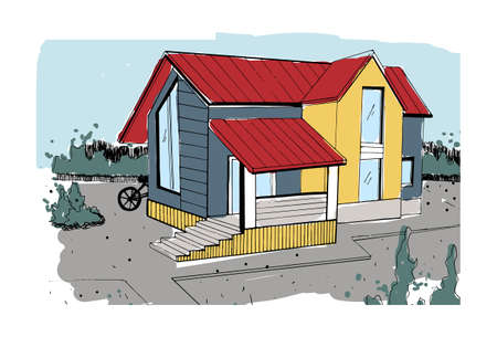 Hand drawn cottage. modern private residential house. colorful sketch illustration. Illustration