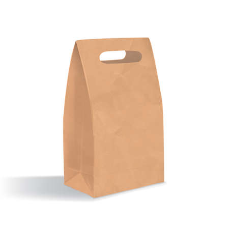 unprinted: Empty brown paper bag with handles holes. Realistic triangular kraft package with shadows isolated on white background. design template.