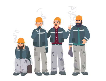 erector: Smoking place. Builders on smoke break. Mans in a working form with cigarettes. Vector illustration in flat style. Illustration