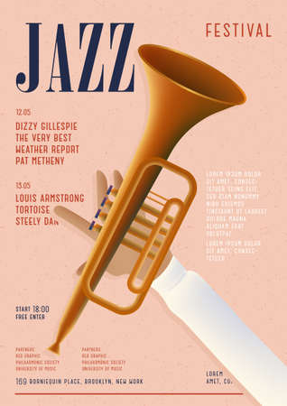 Jazz poster. Template for musical concert placard. Vertical mockup with trumpet and place for text.