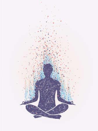 Meditation, enlightenment. Sensation of vibrations. hand drawn colorful illustration Illustration