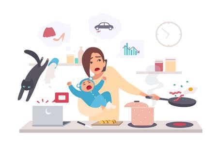 Zajęta matka z dzieckiem, kobieta wielozadaniowa. Macierzyństwo, płaska ilustracja kreskówka. Ilustracje wektorowe