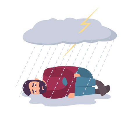 Man in depression concept. Sad and depressed guy under storm cloud and rain. Illustration
