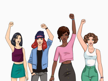 Feminism concept. Different young modern girls with hands up. Colorful illustration.