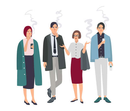 cigar smoking man: Smoking room. Different office people on smoke break. Man and woman with cigarettes. Vector illustration in flat style.