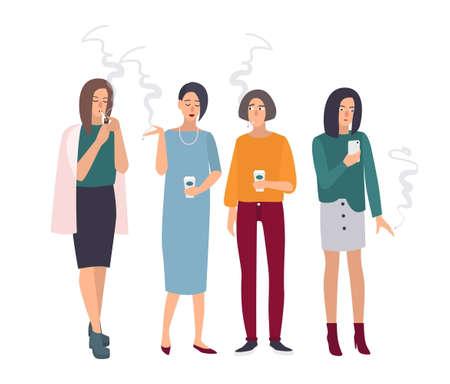 break in: Smoking room. Girls on smoke break. Woman with cigarettes. Vector illustration in flat style.