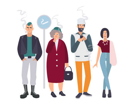 cigar smoking woman: Smoking place. Different people on smoke break. Man and woman with cigarettes. Vector illustration in flat style.
