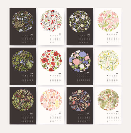 Wall calendar for 2018 Year with nature composition. Design template with floral pattern. Vertical mockup with flowers and plants for each season. Vector Illustration.  イラスト・ベクター素材
