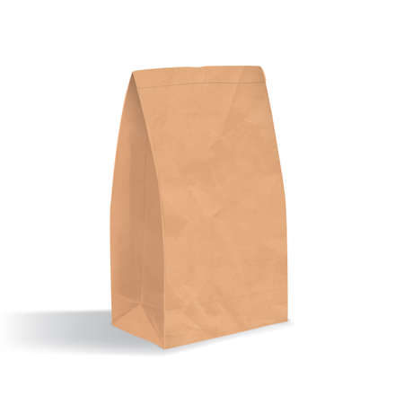 unprinted: Empty brown paper bag. Realistic triangular kraft package with shadows isolated on white background. design template.