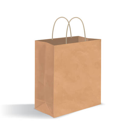 unprinted: Empty brown paper bag with handles. Realistic kraft package with shadows isolated on white background. design template. Illustration