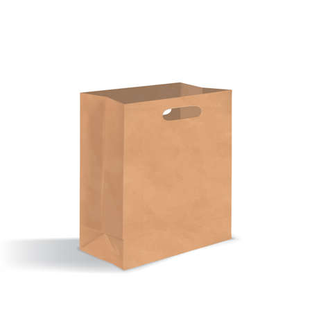 unprinted: Empty brown paper bag with handles holes. Realistic package with shadows isolated on white background. design template.