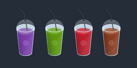 Set of different smoothies in plastic cup with lid and straws. Drinks, cocktails, beverage of orange, purple, green, red color. Vector colorful collection on black background. Illustration