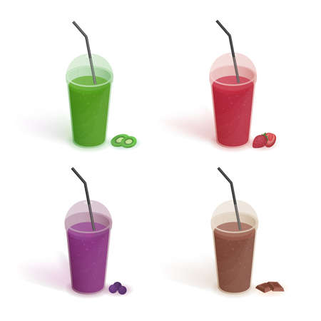 Set of different drinks in plastic cup with lid and straws. Smoothies with blueberries, strawberries, kiwi, chocolate. Vector colorful collection on white background in flat style. Illustration
