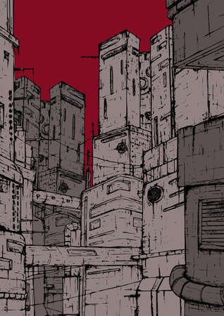 Cyberpunk city. Fantastic constructions. High-rise buildings on a background of red, burgundy sky. Colorful hand drawn illustration. Illustration