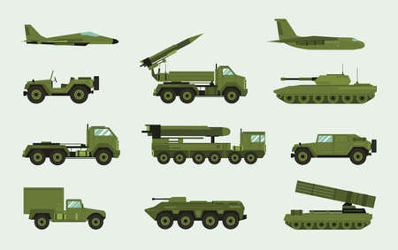 Set of different military transport. Modern equipment collection fighting machine, air defense, car, truck, tank, armored vehicles, artillery pieces. Vector illustration in flat style Illustration
