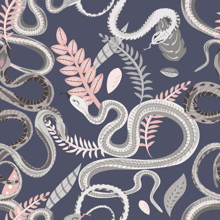 Seamless pattern with snakes and plants. Colorful wallpaper on a tropical theme on gray background.