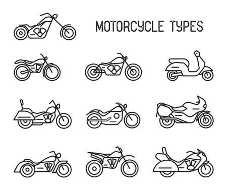 racing: Set of different types of mototechnics. Motorcycles and mopeds, lineart icons. Collection black and white vector illustrations isolated on white background.