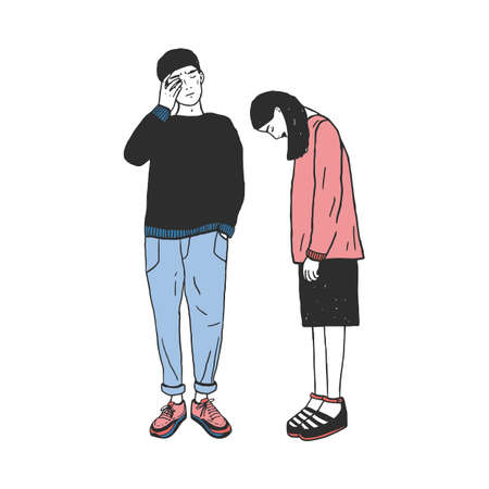 Concept of divorce, crack in relationships,family split. Sad girl and guy after parting. Colorful vector hand drawn illustration.