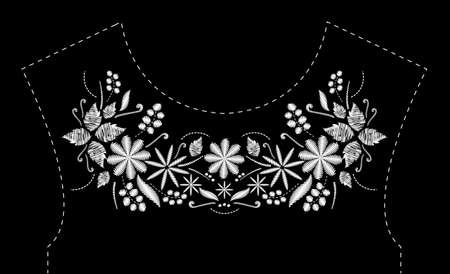 Satin stitch embroidery design with flowers. Folk line floral trendy pattern for dress neckline. Ethnic black and white fashion ornament for neck on black background.