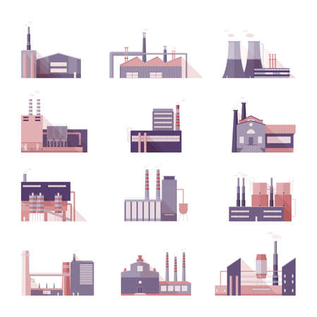 ironworks: Set of industrial factory and plant buildings. Collection manufacturers with smoking chimneys. Vector colorful illustration in flat style. Illustration