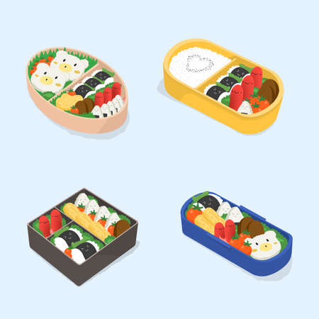 Set of different bento. Japanese lunch boxes collection. Funny cartoon food. Isometric colorful vector illustration. Stock Vector - 79192206