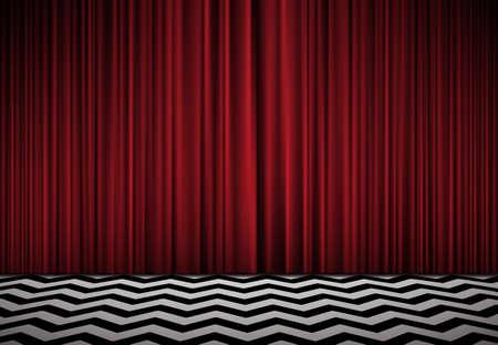 black velvet red room horisontal background with red velvet curtains and black and white