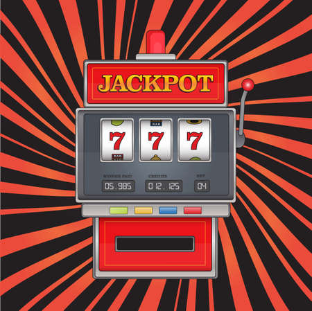 Bright vector illustration on jackpot theme. Red slot machine with three sevens on abstract striped background