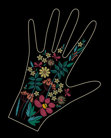 Satin stitch embroidery design with colorful flowers. Folk line floral trendy pattern on glove decor. Ethnic fashion ornament for hand on black background. Illustration