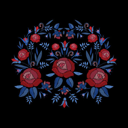 Embroidered composition of roses flowers, buds and leaves. Satin stitch embroidery floral design on black background. Folk line trendy pattern for clothes, dress, decor