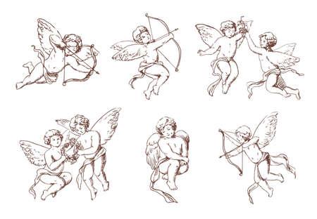 異なるヴィンテージ キューピッドのセットです。矢と弓のコレクションの様々 な飛行天使。ベクトル モノクロ アムールは手描き下ろしイラストで