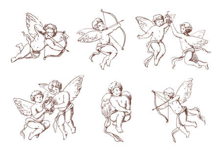 Set of different vintage cupid. Various flying angels with arrows and bow collection. Vector monochrome amur hand drawn illustration. Stock Illustratie