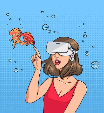Concept of virtual reality. Girl in 3d-glasses and goldfish. Colorful comics vector illustration in pop art style. Illusztráció