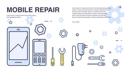 soldering: Concept of mobile phone repair. Horizontal banner with smartphone and tools. Service electronic technic. Colorful vector line art background with place for text.