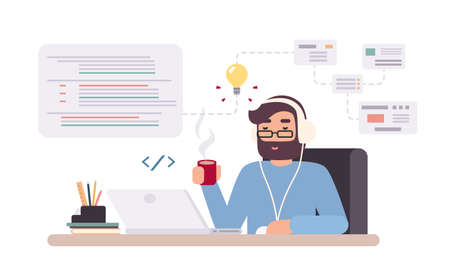 Web-developer works on laptop. Horizontal banner with young programmer on job. Colorful vector illustration in flat style.