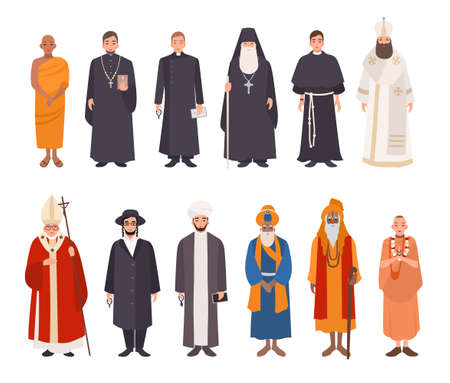 Conjunto de personas de religión. Colección de diferentes personajes monje budista, sacerdotes cristianos, patriarcas, rabino judaísmo, mulá musulmán, sikh, líder hindú, krishnaite. Ilustración vectorial colorido.