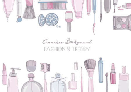 Fashion cosmetics horizontal background with make up artist objects. Vector hand drawn colorful illustration with place for text. Stock Illustratie