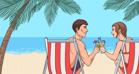 oncept of relaxing on beach. Young couple in love drink cocktails. Beautiful guy and girl near sea in sun loungers. Horizontal colorful vector illustration in comics pop art style. Illustration