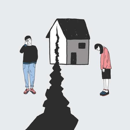 Pojęcie rozwodu, pęknięcia w związkach, podział rodziny. Smutna dziewczyna i facet po rozstaniu. Wektor kolorowe ręcznie rysowane ilustracji.