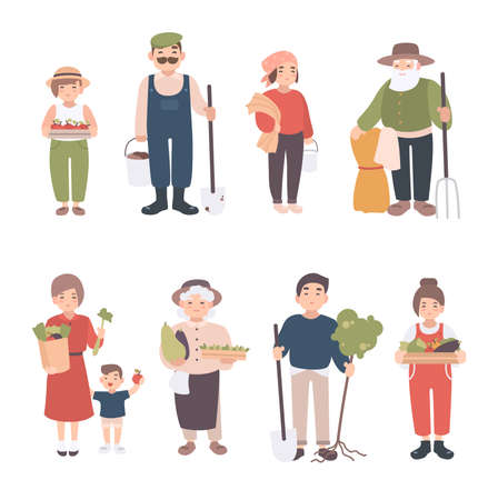 child care: Set of village people. Different young, adult, old farmers and kids. Happy man and woman with seedlings, crops, tools. Colorful vector illustration in cartoon style.