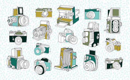 Set of different photo cameras. Hand drawn colorful collection in doodle style.