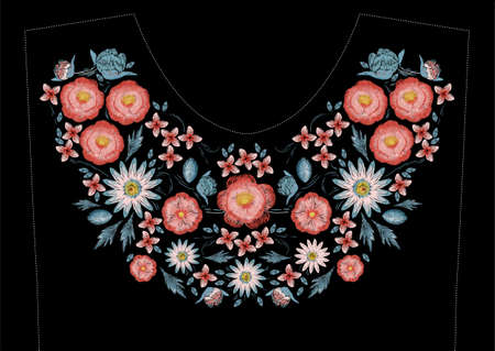 Satin stitch embroidery design with flowers. Folk line floral trendy pattern for dress neckline. Ethnic colorful fashion ornament for neck on black background.