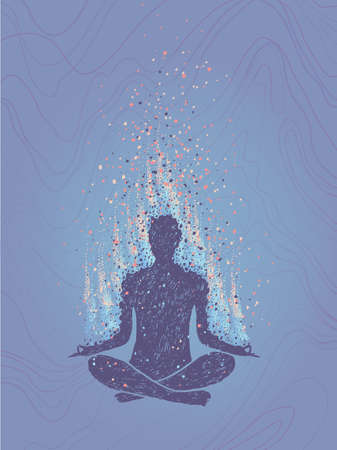 Concept of meditation, enlightenment. Human sitting in a lotus pose. Vertical hand drawn colorful illustration. Vectores