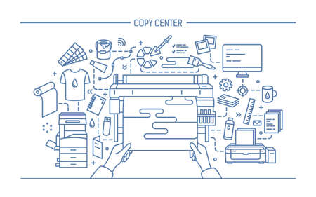 Concept of copy center, print shop, publishing. Horizontal banner with printer, monitor, scanner, different equipment. Black and white vector illustration in lineart style.