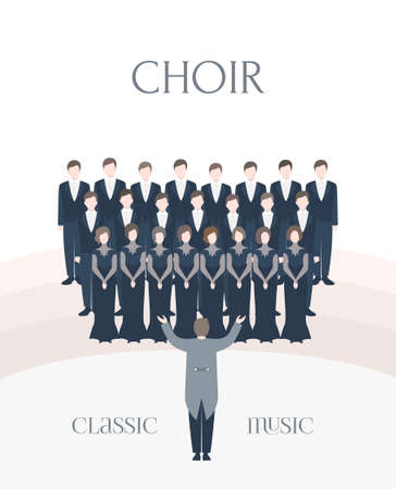 Vertical advertising poster of performance classical choir. Man and woman singers together with conductor. Colorful vector illustration in flat style with lettering. Foto de archivo